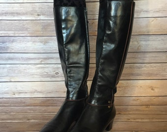 Salvatore Ferragamo Boots | Women's Leather Boots | Black Boots | Vintage Boots | Riding Boots | Tall Boots | Knee High Boots | Size 7B