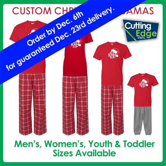 ON SALE Santa Hat Monogram Christmas Pajamas Family Christmas