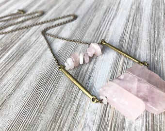 Rose Quartz Pendant Necklace // Long Necklace // Boho Necklace // Natural Stone // Gift for Her // Modern Necklace // Pink Stone Necklace
