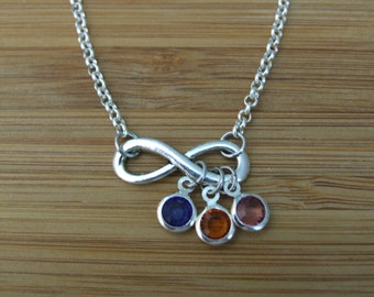 Infinity Mother Grandmother Necklace, Infinity Love, Infinity Symbol, Personalized, Birthstone Necklace, Sterling Silver,Children Birthstone