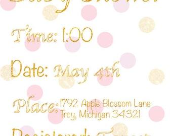 Pink Polka-dot Baby Shower Invitation