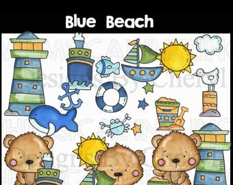 Blue Beach small commercial use clip art for card making, scrapbooking, planner stickers
