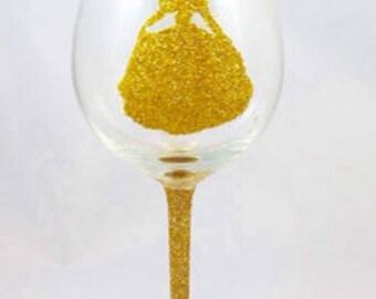 Disney Inspired ~ Belle Glitter Glass
