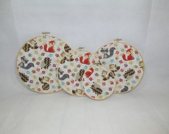 Free Shipping! Fall Forest Animal Themed Embroidery Fabric Hoops, Nuts and Forest Critters, Set of 4