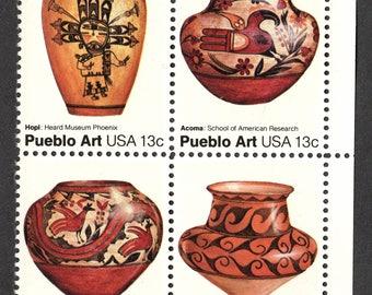 1977 Pueblo Art Pottery Postage Stamps Unused Block