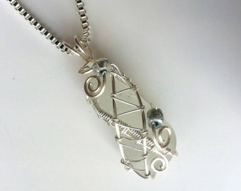 Sea Glass necklace pendant. Seaglass necklace