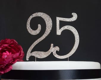 25 Cake Topper - Premium Crystal Rhinestones - Monogram Number Twenty Five - 25th Birthday or Anniversary Party - Perfect Keepsake