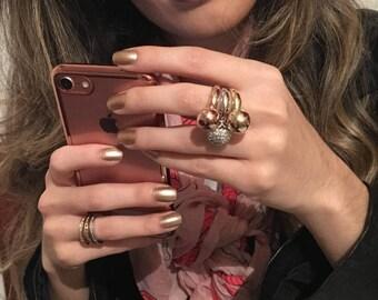 Ball Ring, Three Rings, Stacking Ring Set,  Stacking Rings, Gold Stacking Rings, Rose Gold Stacking Ring, Pave Diamond Ring