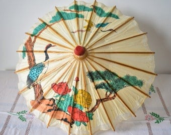 Vintage Asian Rice Paper Umbrella - Scenery with Flowers, Birds and Trees - Hand Painted with Ink, Hand Made Parasol