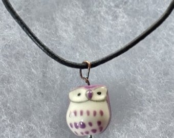 Ceramic Owl Charm Necklace