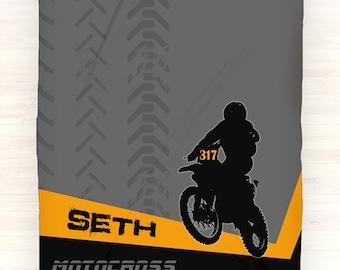 Motocross Throw Blanket, Personalized Fleece, Throw Blanket, Custom Gift Idea, Motorcycle Gift, Dirt Bike Blanket, Motorcycle Blanket, Name