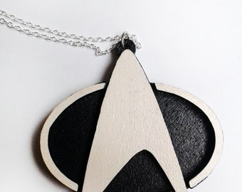 Star Trek Laser Cutted Hand Painted Wooden Necklace