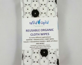 8 Reusable ORGANIC CLOTH WIPES - Variety of prints to choose from. Baby Wipes. Wash Cloths. Pesticide Free. Eco-friendly.