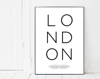 London Print, London Coordinates, London Poster, London City, Coordinates Print, city art, london art, london printable, coordinates poster