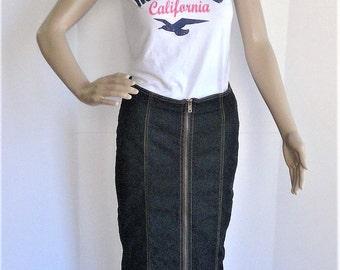 Vintage BISOU BISOU Denim Mermaid Maxi Skirt - Size 4