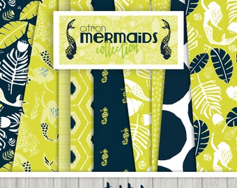 Citron Mermaids Digital Paper Collection { Set of 14 } in Citron and Navy