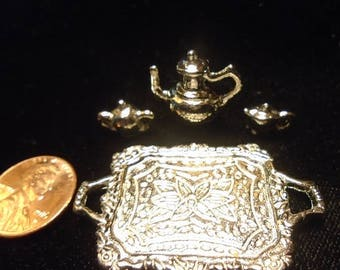 Deluxe silver Miniature tea pot set with tray.