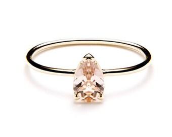 PEAR ring / pear shaped ring / pear cut ring / pear morganite ring / pear morganite