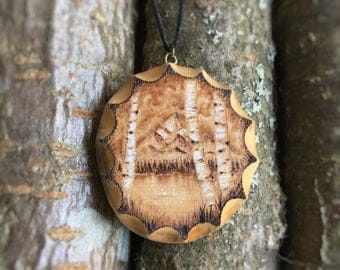 Wooden Necklace with trees and Mountain Landscape - wood pendant, pyrography pendant, wood burned necklace, wood jewelry, wooden pendant