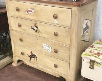 Cowboy Western Rodeo pine dresser with four drawers