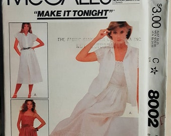 1982 McCall's 8002 Misses Skirt, Camisole and Blouse Size 14 UNCUT FF Sewing Pattern ReTrO!