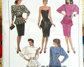 1987 Simplicity 8231 Misses Peplum Skirt Suit Sizes 16-20 Cut to Size 20 Complete Sewing Pattern ReTrO!