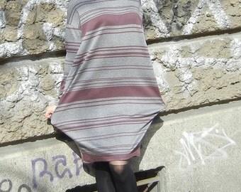 Flattering Loose Maxi Dress, Oversized Stripe Dress, Wide Casual Pocket Dress, Alternative Dress, Avant Garde Dress