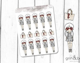 Heart Glasses Girl! Stickers (DS007)