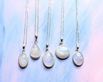 Opal Aura Quartz Pendant Necklace - Aurora Druzy Moonstone Necklace Sterling Silver Clear Quartz Crystal Gem Necklace Raw Crystal Necklace