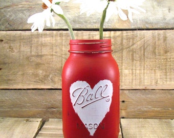 White Heart on Red Mason Jar Vase