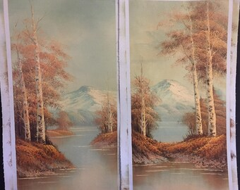 Pair of Original Oil Painting - Landscape - Fall - Autumn - Mountain Lake - Forest
