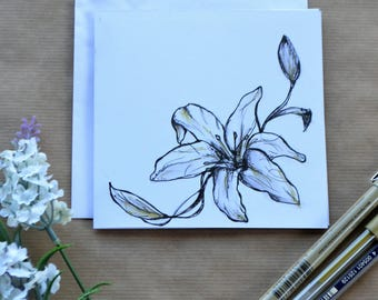 Botanical Lily Greetings Card - Hand Drawn Lillies, Birthday Card, Mothers Day Card, Easter Card, Card For All Occasions