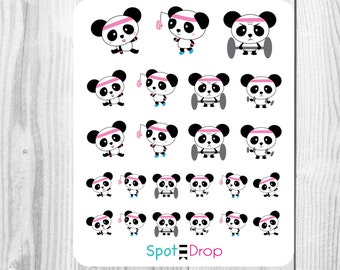 Panda Need to go to the Gym Stickers, Fitness Stickers, Workout Planner Stickers, Panda Planner Stickers // PB04