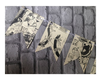 Vintage girls black and white paper bunting garland - recycled 1950s book pages