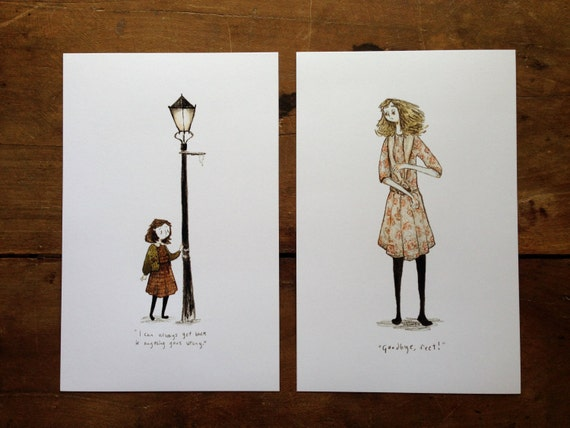Lucy and Alice - 8.5x5.5 Print Set - Watercolor Illustration