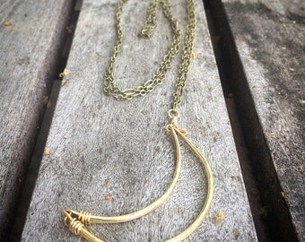 Crescent Moon Necklace Hammered Brass Necklace Bohemian Necklace Long Necklace