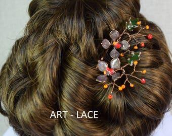 Bronze Rustic Hair accessories for women Red Orange Flower Hair clip Resin wire flower hair pins Wedding Hair pin Antique wedding Birthday