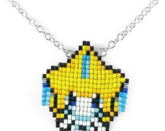 Jirachi Necklace - Pokemon Necklace Pokemon Jewelry Pixel Necklace Video Game Necklace 8bit Jewelry Geeky Gifts Anime Necklace