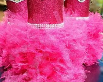Hot Pink centerpiece,  Beautiful hot pink vase, Hot pink wedding centerpieces,  Hot pink party decorations, Hot pink birthday gift