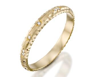 Gold diamonds wedding ring, Handmade ring, Raw ring, Hammered wedding ring, Simple wedding ring, Handcrafted ring, Dainty gold ring, 14k