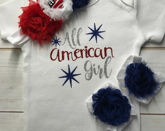 All American Girl.Fourth 4th of July Bodysuit,matching headband,barefoot sandals,patriotic girls outfit,matching set,bodysuit,red white blue