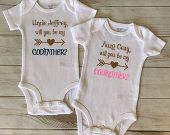 Would you be my GODMOTHER,GODFATHER,Baby Matching Onesies,New Baby Birth Hospital Announcements,Nanny Paran Onesie Shirt,~Baby Gender Reveal