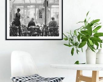 Paris cafe drawing, Paris sreet scene, Parisian decor, Paris illustration, French style print, Paris Fine art print, Parisian drawing