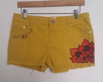 Upcycled Short Shorts, Mustard shorts, Handpainted Shorts, Yellow Shorties, Upcycled Shorts