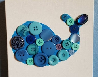 Baby Blue and Green Button Whale Nursery Art