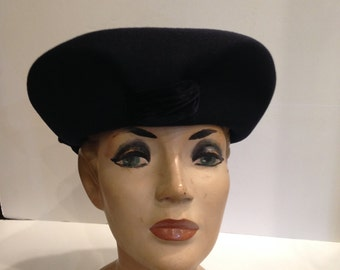 Vintage Velour Hat with Velvet Bow Trim.