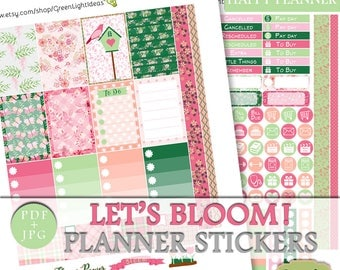 Floral Happy Planner Printable Stickers, Printable Planner March Sticker Kit, Spring Weekly Kit Happy Planner, Green Pink Mambi Sticker