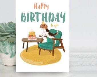 Cute Beagle Birthday card