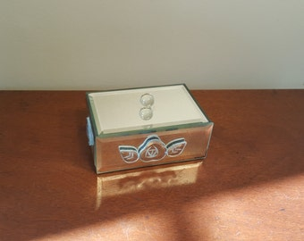 Vintage Mirrored Jewelry Box, Trinket Box, Vintage Mirror Sided Lidded Box, Mirrored Trinket Box