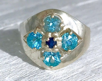 Vintage Sterling Silver Blue Topaz and Blue Sapphire CNA Flower Ring December September Birthstone Size 10.25